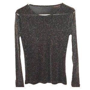 Tops - Black & silver Glitter long sleeve mesh top
